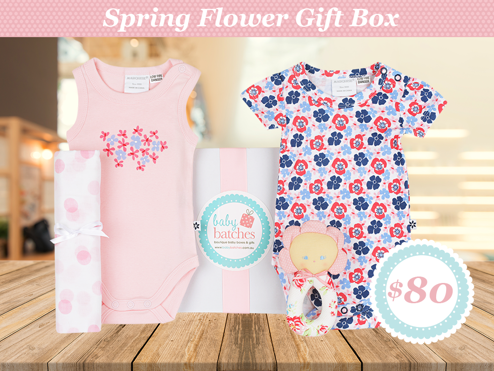 Spring Flower Baby Girl Gift Box Spring Flower Gift Box Spring Flower Gift Box for Baby Girls spring flower gift box hamper baby batches